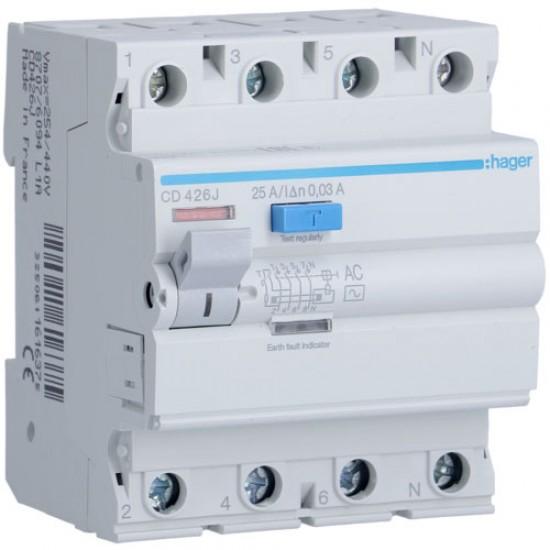 Hager CD426J Four Pole 25A Earth Leakage Circuit Breaker  Price in Pakistan