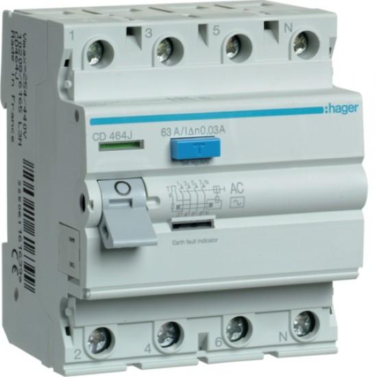 Hager CD464J Four Pole 63A Earth Leakage Circuit Breaker  Price in Pakistan
