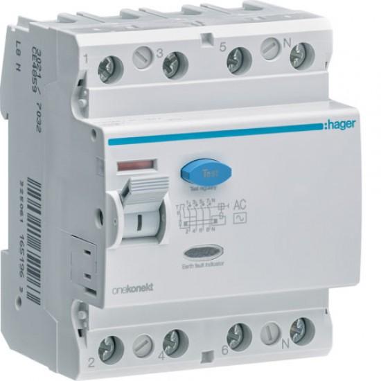 Hager CF485Z Four Pole 100A Earth Leakage Circuit Breaker  Price in Pakistan