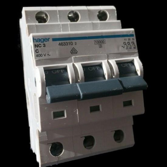 Hager NC-3 Triple Pole 10KA-15KA Circuit Breaker