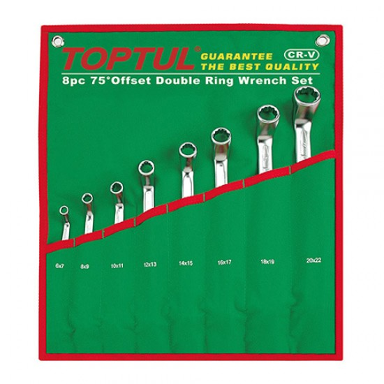 Toptul GAAA0810 - Double Offset Ring Wrench Set 75° 8PCS  Price in Pakistan