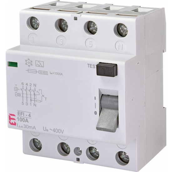 ETI EFI-4 Four Pole Earth Leakage Circuit Breaker  Price in Pakistan