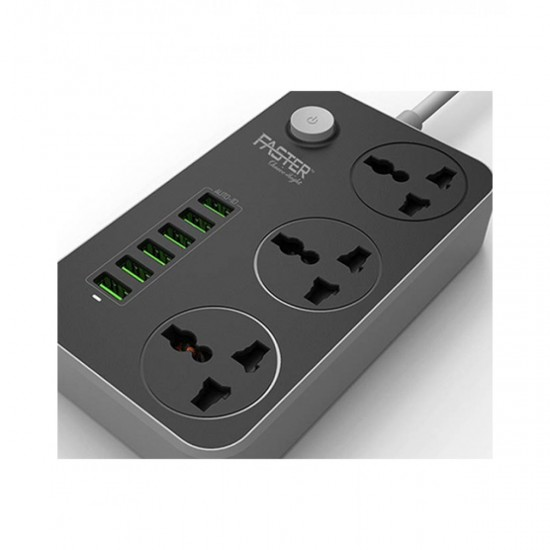 Faster FUS-630 3 Power Socket And 6 USB Auto Max Black  Price in Pakistan
